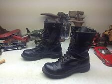 VINTAGE ZIP UP MILITARY USA BLACK LEATHER LACE UP PARATROOPER JUMP BOOTS 9.5 D