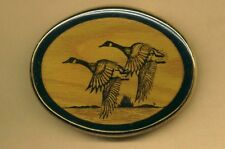 Vintage FLYING GEESE BRASS and WOOD BELT BUCKLE *Wm. West Ft. Collins USA *NOS