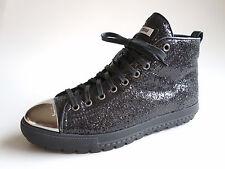 $590 MIU MIU by PRADA Hightop Sneaker Metal Cap Glitter studded Black 37 US6 UK4
