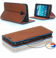 Premium Quality Leather Flip Case Best Design Cover Gorilla Tempered Glass Sony Xperia Z3 Brown