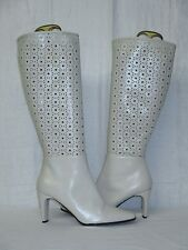 Bellini Racey Pearl White Laser Cut Leather Knee High Dress Riding Boots 7.5