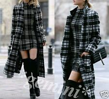 ZARA WOLLE MANTEL KARIERT Dufflecoat GREY CHECKED LONG WOOL COAT SIZE S / 36 38