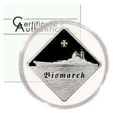 Palau German Battleship Bismarck $10 2009 Square Proof Silver Crown COA