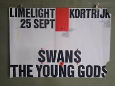 SWANS + THE YOUNG GODS Vintage Concert Tour Poster Kortrijk 1987 Belgium