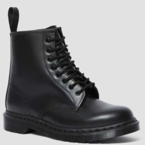 DR. MARTENS 1460 MONO SMOOTH LEATHER LACE UP BOOTS - BLACK - SIZE USM 7/USW 8