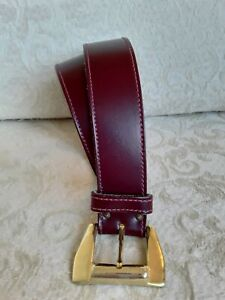 "Calderon Sz S/M 30"" Vtg Burgundy Berry Leather Women's Belt Made in USA Classic"