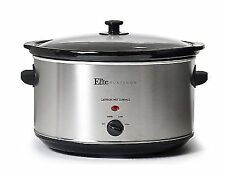 Crockpot Slow Cooker Large Oval 8.5 Qt Stainless Steel Removable Stoneware Pot