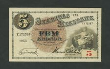 SWEDEN  5 kronor  1933  P33p  Uncirculated  Banknotes