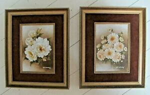 PAINTINGS X 2 Flowers Still Life Oil on board Framed Lois Hollister Originals
