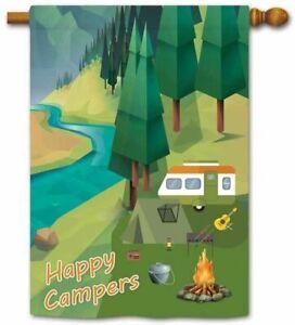 "KafePross - ""Happy Campers"" Outdoor Garden Flag - 27x39 (Camping/RV) New"