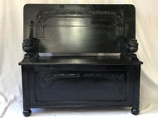 1 Antique Victorian Gothic Style Carved Lions Metamorphic Oak Monks Bench Table