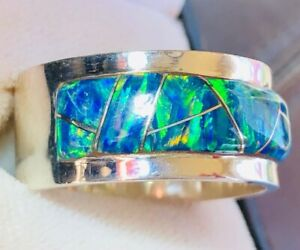 Heavy thick Pipe Men Man Black Opal Ring FIRE Sunset GLOW Sterling 12 X FIRE