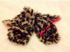 Girls Cute Fluffy fun fur Leopard animal ears pink Warm Winter Mittens 3-5 yrs