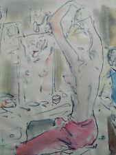 Curiosa dessin original aquarelle et plume loge d'artistes nu années 30