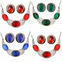 Fashion Woman Wedding Jewelry Set Hollow Silver Plated Crystal Necklace Earrings
