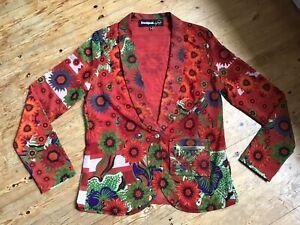 Desigual By Christian Lacroix Floral Print Mesh Net Jacket Size 42, 14 Uk