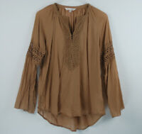 Odd Molly Womens Top Size 2 Blouse Brown Embroidered Boho Tunic Semi-sheer