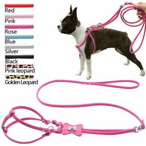 ROUND FAUX LEATHER DOG WALKING HARNESS LEAD COMBINATION DIAMANTE BONE SMALL