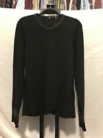 Elie Tahari Black 100% Merino Wool Black V Neck Sweater Size Large