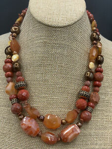 Barse Equinox Two Strand Necklace- Mixed Stones- Bronze- NWT