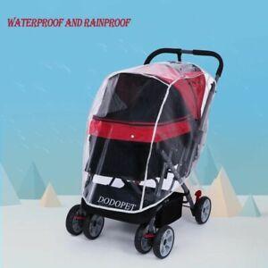 Pet Dog Stroller Solid Foldable Safe Transparent Wind Rain Proof Outdoor Travel