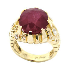 De Buman 12.32ctw Ruby 10K Yellow Gold Plated Polished 925 Silver Ring, Size 7.5