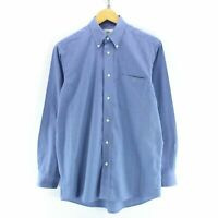 Vintage Lactose Men's Button Down Shirt Blue Size S 38 Long Sleeve Cotton CD2593