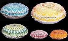 Indian Cotton Mandala Print Pom Lace Round Cushion Cover Home Decorative Pillow