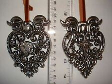 Peace Joy Ornaments Set of 2 Metal Hearts with Dove and Heart 24684 225