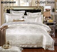 Luxury Bedding Sets  Lace Cotton Jacquard Bed Set Sheets Bed Linen Duvet Cover