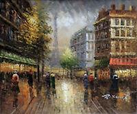 Paris Eiffel Tower Fall Street 1890s Impressionism Oil Painting 20X24  STRETCHED