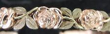 Solid 14K Multi Tone Gold 5.5mm Hand Carved Rose Bangle Bracelet 20.42 Gram