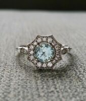 2Ct Round Blue Aquamarine Antique Milgrain Engagement Ring 14K White Gold Finish