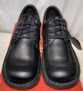 Kickers Womens Kick Lo Leather Lace Up Shoes Black Sz UK 7 / 40 rrp £85