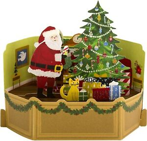 Hallmark Paper wonder Pop Up Christmas Card Father Christmas In Living room...