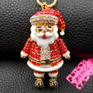 Betsey Johnson Rhinestone Enamel Christmas Santa Claus Pendant Chain Necklace