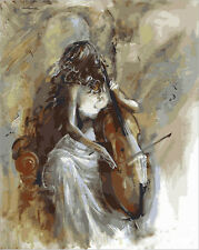 """16x20""""DIY Paint By Number Kit Retro Classic Oil Painting On Canvas Playing Cello"""