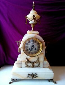 Antique Portico Bronze and Marble Mantel Clock