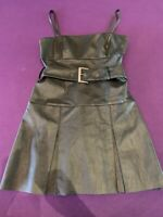 Free People Vegan Leather Belted Mini Dress NWT Black 6 Easy Wear, Easy Care