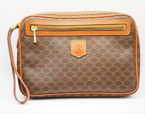 AUTHENTIC VINTAGE CELINE PARIS MADE IN ITALY PVC MACADAM PATTERN CLUTCH BAG NR