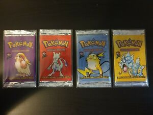 4 x EMPTY Base Set 2 ENG Booster Packs, Complete Artset, ONLY WRAPPERS, NO CARDS