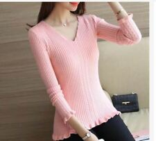 KNITTED VNECK TOP (TG) - PINK