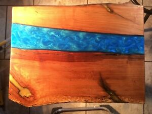 Epoxy Resin River Table, live edge Cherry top, pearl & gold accents, glow lights