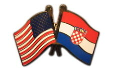 Croatia Friendship with USA Flag Lapel Badge Pin