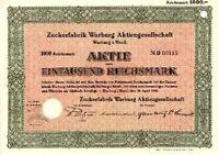 Zuckerfabrik Warburg AG hist. Aktie 1942 Ostwestfalen Südzucker Zuckerindustrie