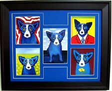 "GEORGE RODRIGUE BLUE DOG NOTE CARD COLLAGE - BLUE MAT - FRAMED - 16"" x13"""