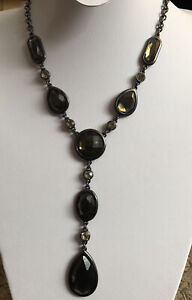 vintage Drop necklace Gothic Antique Green Tone Stone Diamond Tone Stones