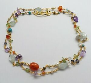 Natural Gemstone Multi Stone Beads Rosary Chain 22K Gold Necklace 24 Inch Long