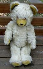 "ANTIQUE NICE LARGE 23"" YELLOW STRAW FILLED MOHAIR JOINTED STEIFF ?? TEDDY BEAR"