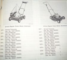 John Deere 18 & 20-Inch Rotary Push Mower Parts Catalog Manual Original! JD 4/79